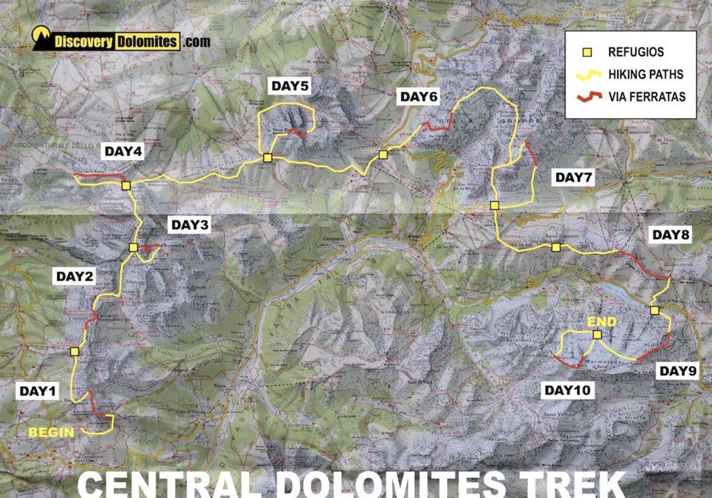Central Dolomites via ferrata map