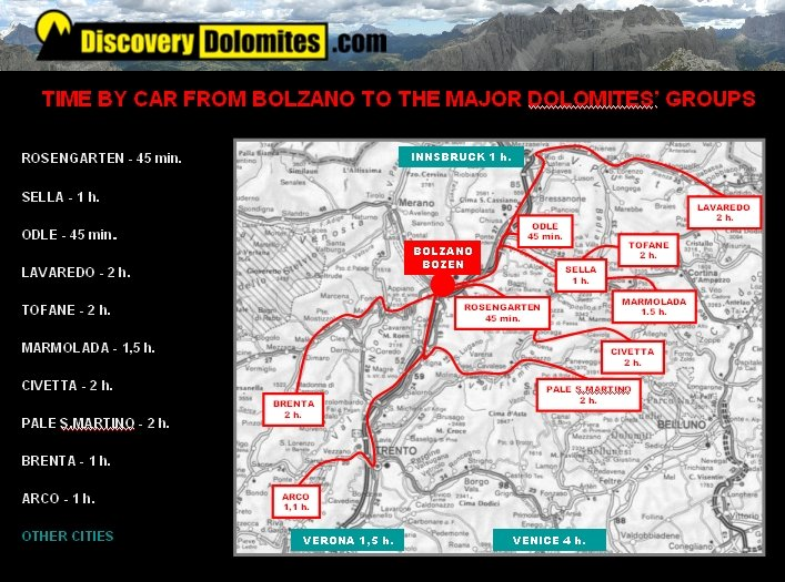 Via Ferrata Dolomites map