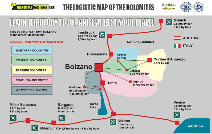 luxury dolomites tours map