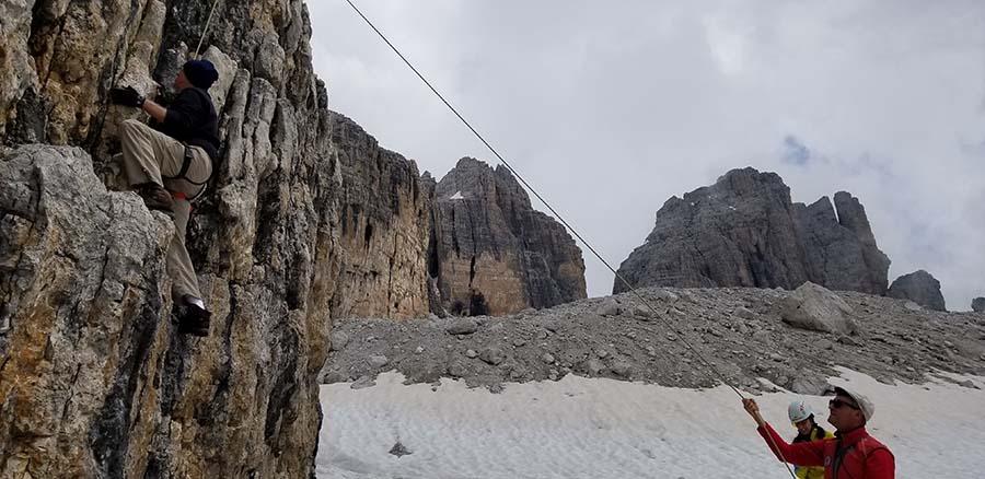 Via delle Bocchette climbing cliff