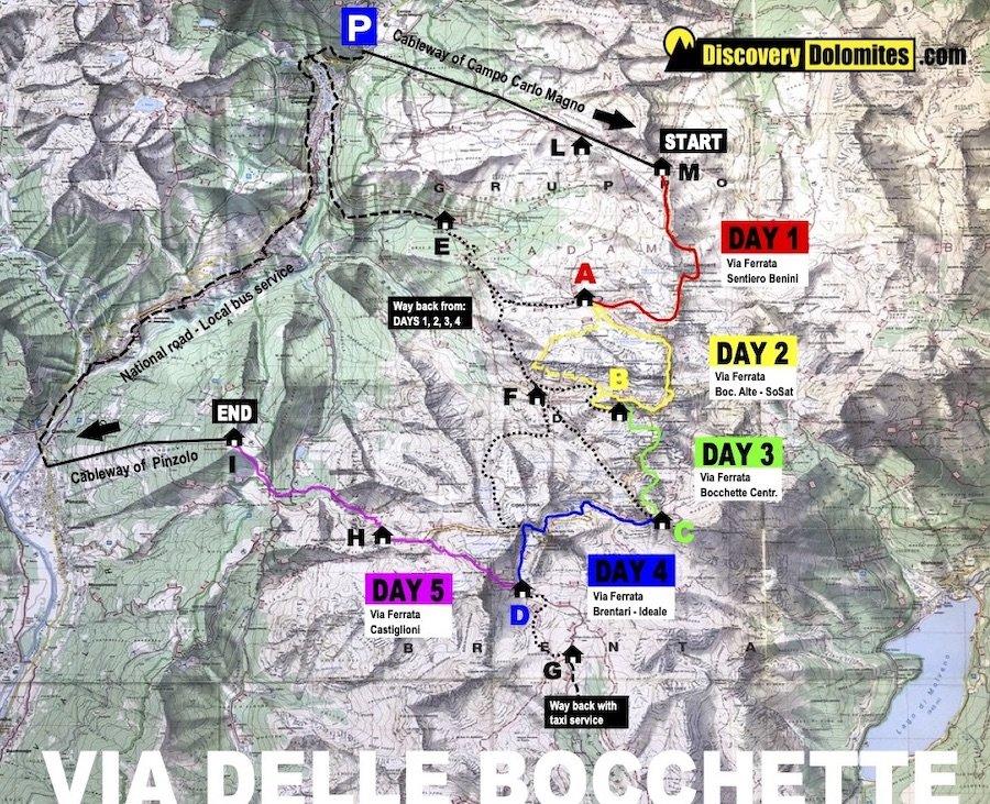 Via delle Bocchette map